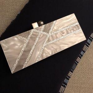 Zara White and silver acrylic clutch
